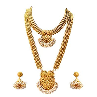 ae04e8c8ce Buy LookEthnic Traditional South Indian Golden Haram Necklace Set for Women  Online at Low Prices in India | Amazon Jewellery Store - Amazon.in