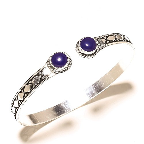 Ethnic! Blue Dyed Sapphire Sterling Silver Overlay 10 Grams Bangle/Bracelet Free Size by Shivi