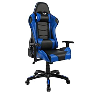 Andeworld Ergonomic Racing Gaming Chairs PU Leather Swivel Office Chairs Recliner Computer Chairs with Lumbar Back, Headrest, Padded Cushion and Footrest Blue & Black