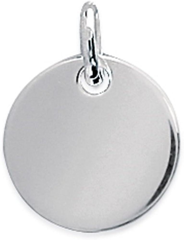 M/édaille Ronde Pendentif en Argent 925//000 Rhodi/é Disque 15 mm Rond