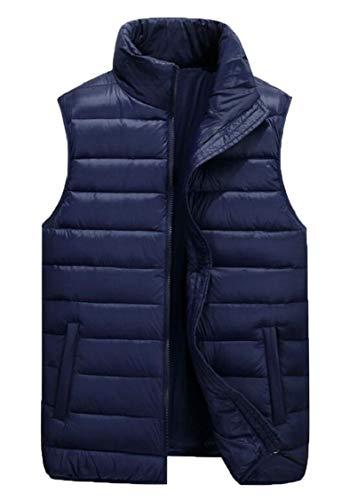 Vest Lightweight Down Packable Men's Sleeveless Gocgt 3 Zipper Jacket Ultra PqHAUw8