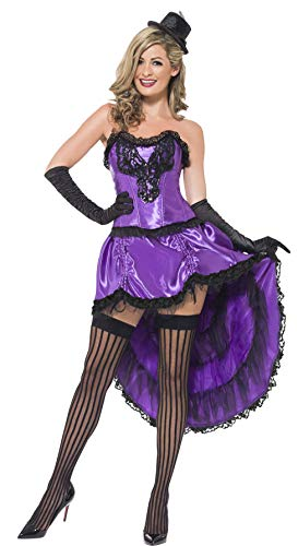 (Smiffys Women's Burlesque Glamour Costume, Corset and Adjustable Skirt, 20's Razzle Dazzle, Serious Fun, Size 10-12,)