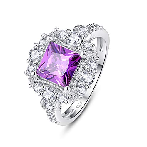 Emsione Women's 925 Silver Plated Cushion Created Amethyst Engagement Brilliant Sparkly Ring Size 6-9 (Baguette Swirl Bypass Ring)