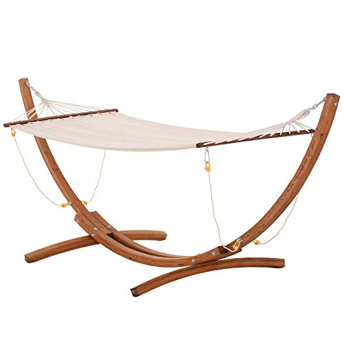 Outsunny 10' Wood Hammock with Stand, Heavy Duty Curved Arch Hammock for Single Person, White