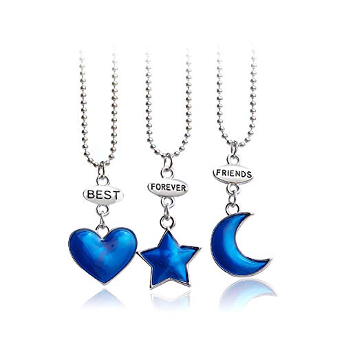 Best Friend BFF Necklace,Split Heart Pendant Necklace Set for 2 3 4 Pieces Gift for Women Girls (Blue Star Moon Heart-3 Pieces) (Best Friends Split Pendant)