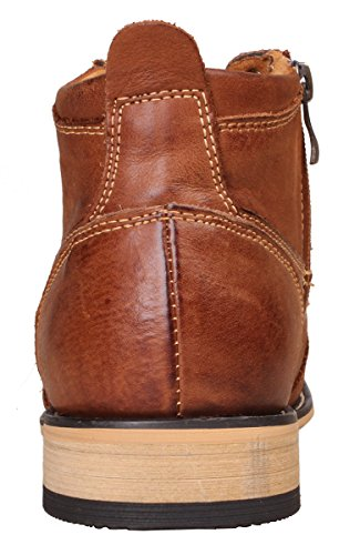 ... Kunsto Menns Ekte Skinn Oxfords Kle Ankel Boots Med Glidelås Brun ...