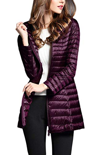 Battercake Blouson Stepp Hiver Quilting Chic Elégante Lumière Oversize Chaud Fashion Outdoor Zip Loisir Slim Mode Longues Cheminée Manches Purple Fit Outerwear Doudoune Automne rXqErwR