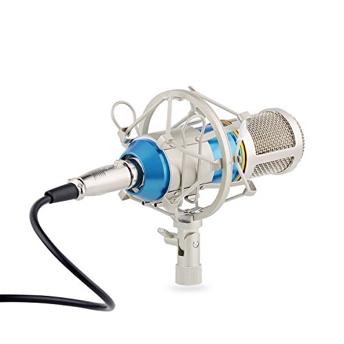 eBerry Condenser Microphone, Large Diaphragm Studio Broadcasting & Recording Vocal Condenser Mic with Shock Mount Holder Clip (Blue) by eBerry (Image #2)