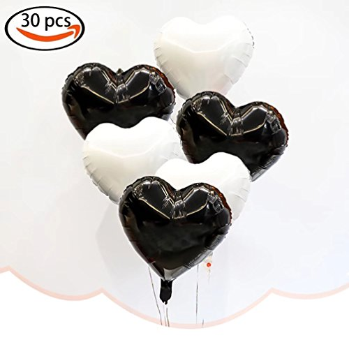 Christmas 18 Inch Mylar Balloon - AZOWA 30 Pcs Heart Balloons 18 inch Foil Mylar Helium Balloon White and Black Heart Shaped Balloons for Valentine's Bridal Shower Wedding Birthday Party Décor (15 Black and 15 White, 18'')