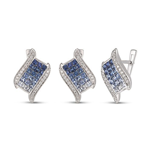 Mother's Day Gift, 14K Gold Sapphire Earring with Diamond,Sapphire Earrings, Diamond Earrings by Ferhe New York