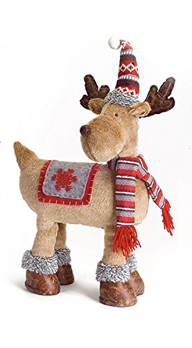 MELROSE INTERNATIONAL PLUSH STUFFED REINDEER DECOR WITH SCARF AND HAT ~ CHRISTMAS HOLIDAY DECOR