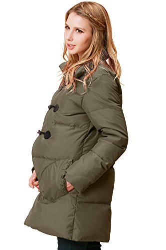 - Sweet Mommy Maternity and Mother's Down Duffle Coat with Baby Wearing Pouch Khaki, M