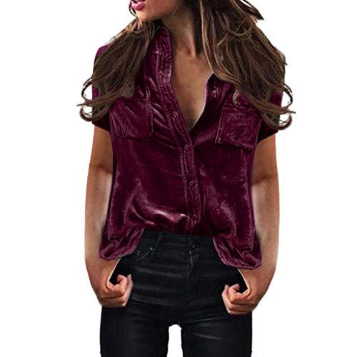 Realdo Women Blouse, Velvet Turn-Dowm Collar Long Sleeve T-Shirt Tops