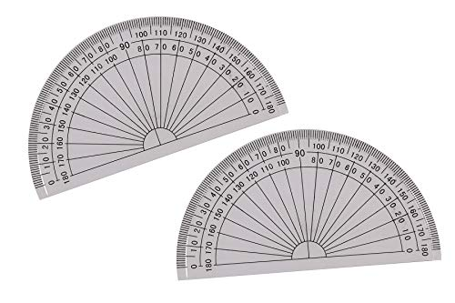 (Tupalizy 4 Inch Small Math Protractors 180 Degrees Plastic Angle Measurement Protractors for Student Kids Homework Drawing, Teacher Class Text Books, School Office Worksheets Supply, Clear, 2PCS)