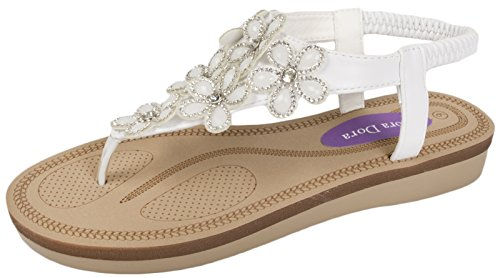 Lora Dora Womens Flat Low Wedge Comfort Sandals White gKkehH6Qw