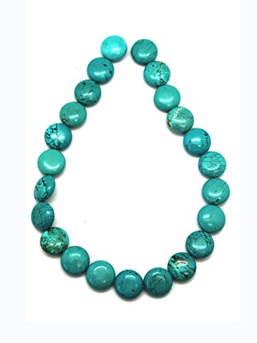 18mm Aqua Turquoise Coin Bead Strand With Rusty Matrix (23 Piece) (Puffed Beads Coin)