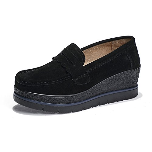 HKR Women Slip On Platform Penny Loafers Comfort Suede Moccasins Fashion Wedge Sneakers Shoes