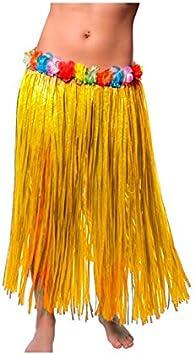 Falda Hawaiana Adulto Hula Amarilla (80 cm): Amazon.es ...