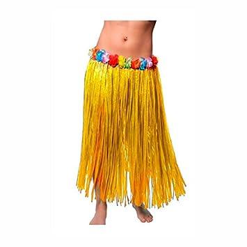 Falda Hawaiana Adulto Hula Amarilla (80 cm): Amazon.es: Juguetes y ...