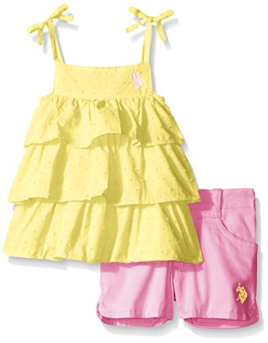 U.S. Polo Assn.  Girls' Ruffled Dotted Swiss Tank Top and Washed Twill Short, Yellow, 4 by U.S. Polo Assn.