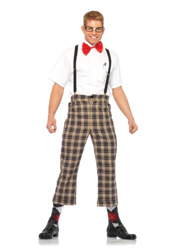 Leg Avenue Men's 4 Piece Nerdy Ned Costume, Brown, (Geek Costume)