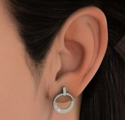 14K Or blanc 0,04CT TW Round-cut-diamond (IJ | SI) Pendants d'oreilles