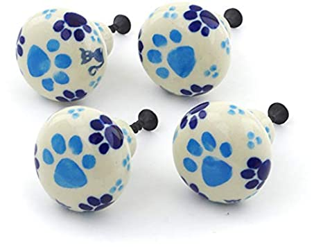 Polish Pottery Pull Knobs Made by Ceramika Artystyczna + Certificate of Authenticity Kitty Love Theme 4