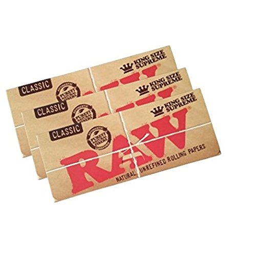 raw classic king size supreme rolling papers 3 packs