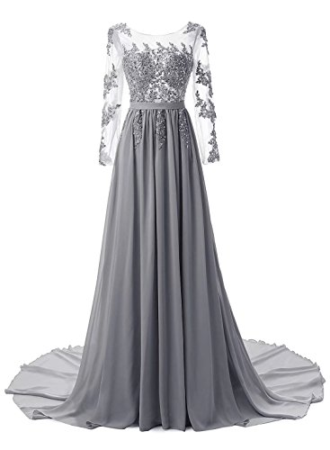 Gown Dress Applique Lace Sleeve AiniDress Prom Long s Women Grey Evening np6wUgpq