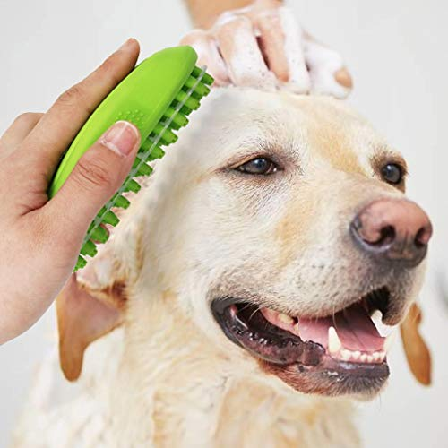Anasu 3-In-1Dog Bath Brush Pet Massager Grooming Brush,Dog Deshedding Brush Gently Removes Loose Hair (Green) (Best Hair Shampoo For Silky Hair)