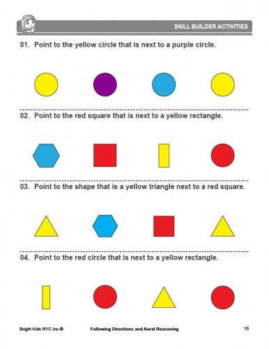 Following Directions and Aural Reasoning (K - 1st Grade): Bright ...