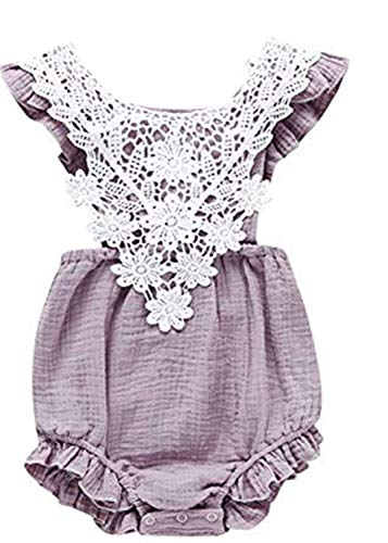 Newborn Toddler Baby Girls Lace Romper Cute Flower Bodysuit Summer One Piece Jumpsuit Clothes Purple]()
