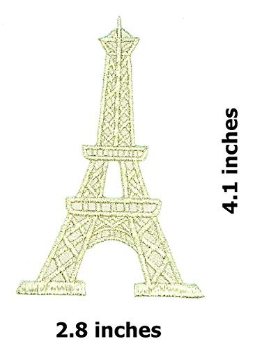 Silver Eiffel Tower in Paris Beautiful Landmark France Cartoon Children Kid Patch Clothes Bag T-Shirt Jeans Biker Badge Applique Iron on/Sew On Patch