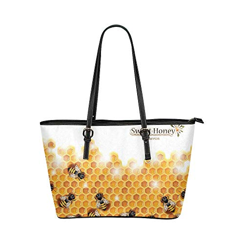 InterestPrint Funny Sweet Honey Bees on Honeycomb Spring Season Women's Leather Tote Large Shoulder Bag with -