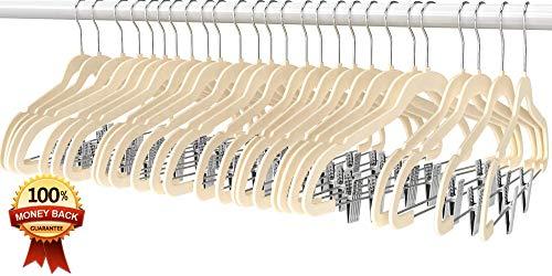 Premium Quality Velvet Pants Hanger Set of 26 - Ultra-Thin No Slip Velvet Skirts Hangers - Swivel Hooks, Space Saving Clothes Hangers - Great For Skirts, Dresses, Suits, Shirts & More - Slim IVORY