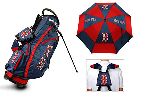 "Team Golf Boston Red Sox MLB Bag & Umbrella Bundle | Includes Fairway Golf Stand Bag, 62"" Umbrella & Rain Hood (Boston Red Sox)"