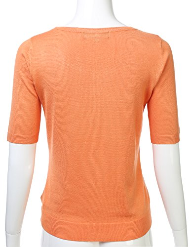 Womens Button Down Fitted Short Sleeve Fine Knit Top Cardigan Sweater LIGHTORANGE L by FLORIA (Image #2)