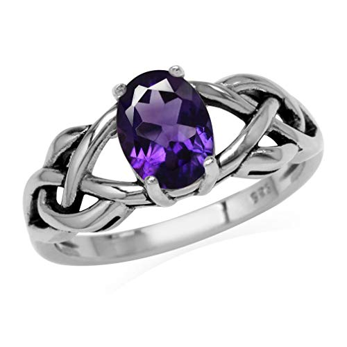 1.18ct. Natural African Amethyst 925 Sterling Silver Celtic Knot Solitaire Ring Size 8