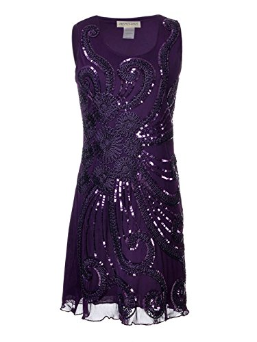 Flapper Party Anna Dress Sequin Beaded Sleeveless Womens Purple Floral Kaci Mini 1920s qzHwaIAUz