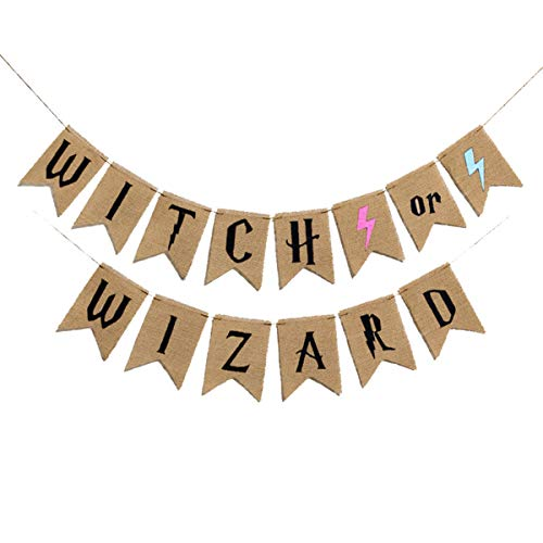 Witch OR Wizard Banners Harry - Porter Lightning Birthday Banner Pull Flag Burlap Pull Flowers Holiday Decoration(Witch OR Wizard)