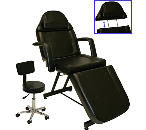 Black Adjustable Tattoo Massage Facial Table Bed Chair Barber Beauty Salon Spa (Makeup Table And Chair)