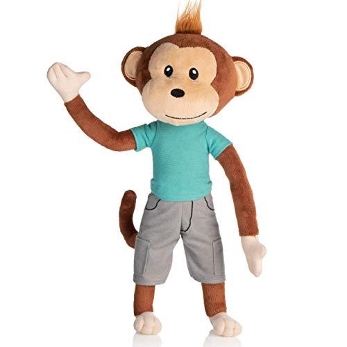 earthMonkeys Plush Monkey Stuffed Animal | Cutest Stuffed Monkey Plush Ever! | Stands, Sits & Bends | Simeon The Stuffed Animal Monkey Will Become Your Kids Best Friend! ()