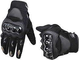 AmazonBasics Motorbike Powersports Racing Gloves - Large, Gray
