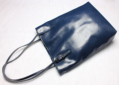 Cow Shoulder Blue Cross Handle Top Purse satchel Leather Bag Women��s Kuer Tote Hereby Body Handbag Navy wxFf0W