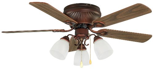 Malibu Copper Bulb (Canarm MALIBU AC 3-Light Ceiling Fan, 42-Inch, Malibu Antique Copper)