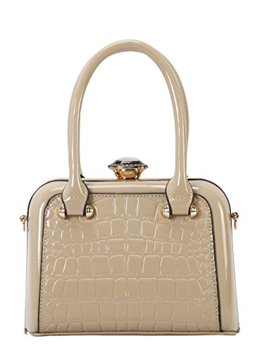 Diophy Tote Medium Structured Leather Pattent Taupe Debossed PU Shiny rU0qnwar
