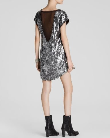 Free People Women's Shattered Glass Sequin Midnight Dreamer Dress Black Combo Dress