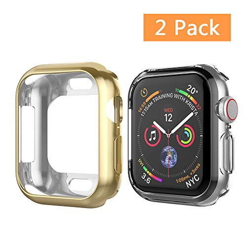 UMTELE Case Compatible for Apple Watch 4 2018 44mm, Soft TPU Case Anti Scratch Protector Bumper Cover Compatible Apple Watch Series 4, 2 Pack(Gold + Clear)