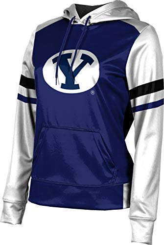 Brigham Young University Women's Pullover Hoodie, School Spirit Sweatshirt (Old School) FF1C - Young Brigham Fabric University