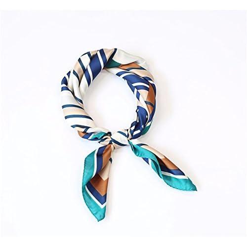 FLYRCX Tempérament doux et confortable foulard en soie motif géométrique robe femmes foulard parure 70cmx70cm